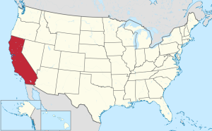 Map of US states, California red colored.