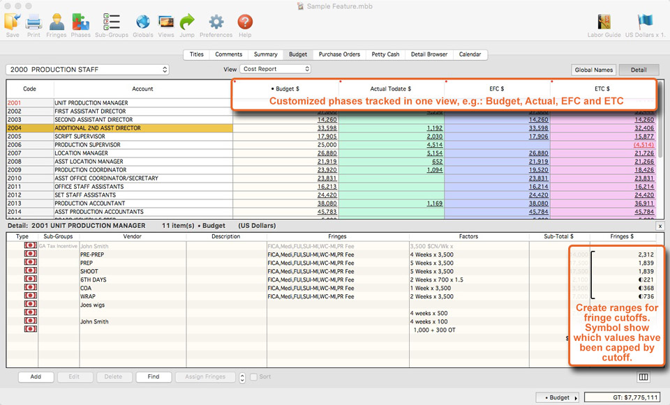 software support tools screen showing how to create ranges and accurately apply fringe cutoffs in showbiz budgeting 9