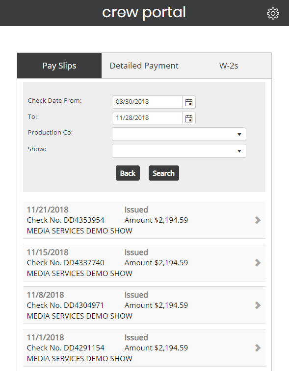Screenshot of Crew Portal with Pay Slips selected